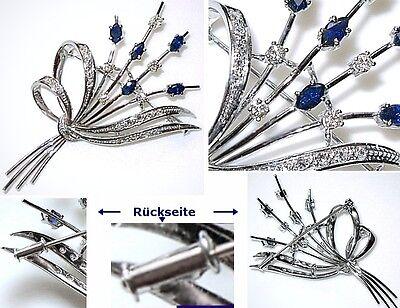 Große Bukett Brosche Mit 23 Brillanten & Diamanten Broschen & Nadeln Royal Blues Saphire,au 585