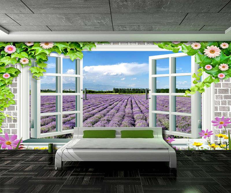 Novel Lavender Field 3D Full Wall Mural Photo Wallpaper Printing Home Kids Decor