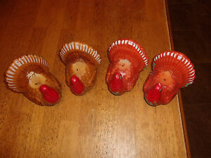 LOT OF 4 THANKSGIVING TURKEY CANDLES, USED ONCE FOR LESS THAN 1 HOUR