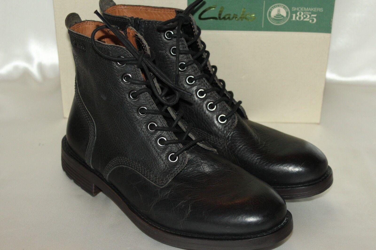 NEW  CLARKS Mens Black Leather FAULKNER RISE Zip Boots Sz 7  150