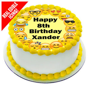 Image Is Loading Emoji Edible Icing Cake Topper Personalised Birthday