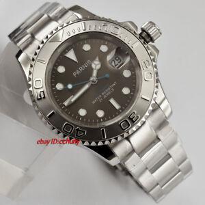 PARNIS-41mm-leuchtende-graues-Zifferblatt-Saphir-Kristall-Datum-Automatische-Armbanduhr