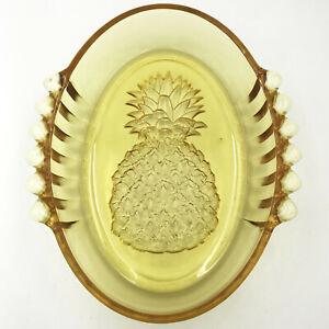 Vintage-Indiana-Tiara-Serving-Dish-Yellow-Mist-Amber-Glass-Pineapple-Bowl