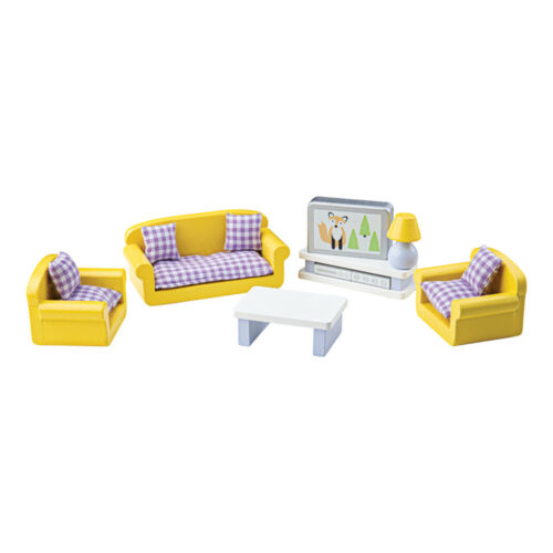 Tidlo Wooden Doll/'s House Living Room Furniture Play Set Complete