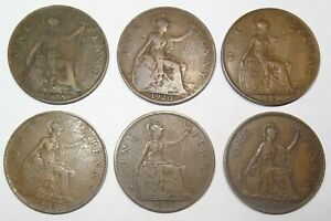 UK-Penny-coins-Great-Britain-6-coin-lot-copper