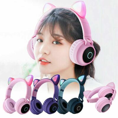 Wireless Cat Ear Headphones Bluetooth Headset Led Lights Earphone Kids Adults Us Ebay