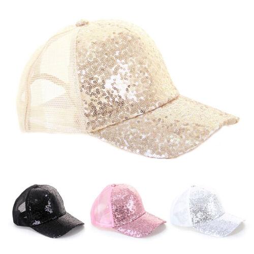 Sequins Ponytail Baseball Cap Women Mesh Bun Baseball Hat Snapback Sport Caps BC