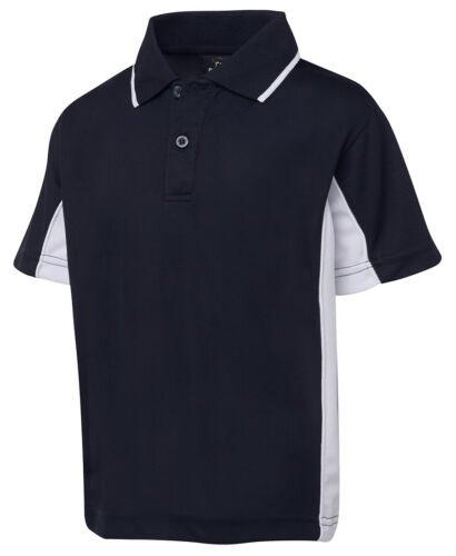 Podium Teamwear Kids Dynamic Sports Polo Top Contrast Corded Piping Side Panels