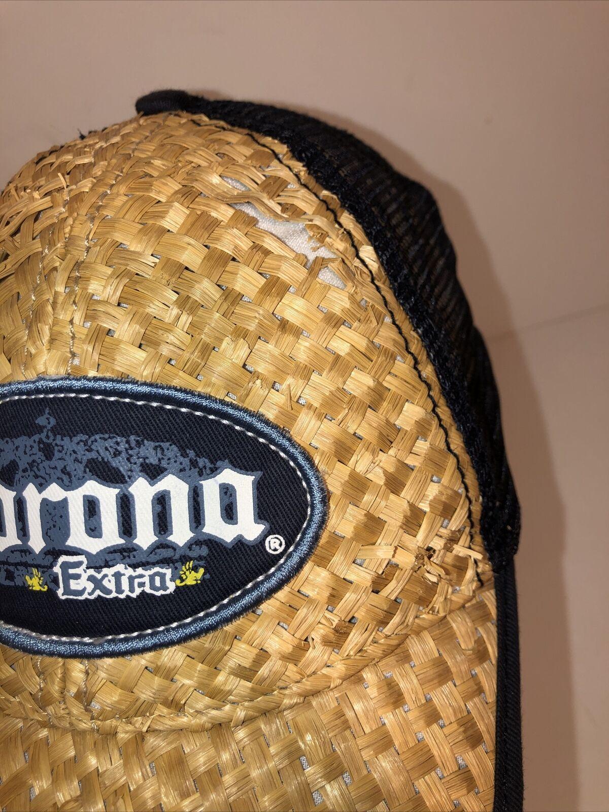 Vintage Corona Extra Beer Straw Woven Beach Cap H… - image 7