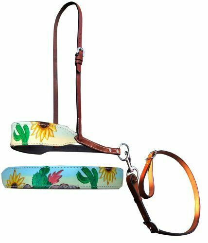 FREE SHIP! Showman Sunflower /& Cactus Overlay Leather Tie Down Noseband /& Strap