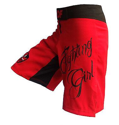 Womens MMA & Fitness Shorts Fight Boxing bjj Ladies Red Flexible AQF