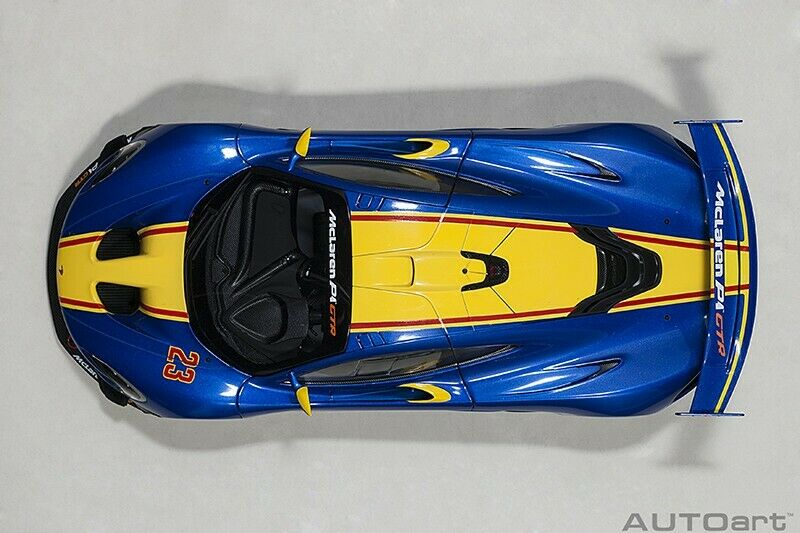 Autoart McLAREN P1 GTR METALLIC blueE YELLOW STRIPES 2015 1 1 1 18 Scale New  6a8c29