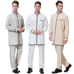 7422f79c5d Details about Arab Muslim Mens Clothing Set Jubba Thobe Tops/Pants Islam  Abaya Robe Plus Size