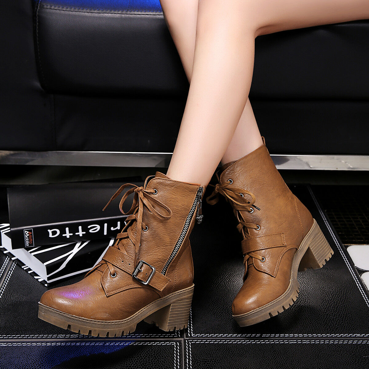 Women's Lace Up Ankle Boots Chunky Heels Faux Leather Round Toe Riding shoes Zip