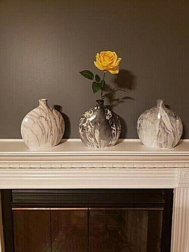 Set of 3 Gray Ceramic Decorative Vases Flat Rounded Oval Marbled Short Neck