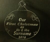 Personalised  First Christmas tree decoration Acrylic Engraved Bauble