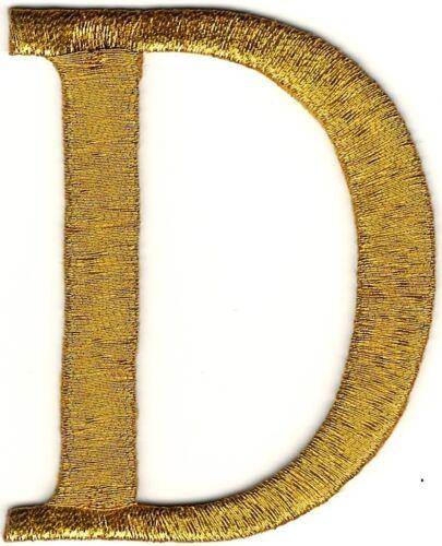 """2 /"""" X 6cm Metallisch Gold Monogramm Kabel Buchstabe D Stickereien Patch"""