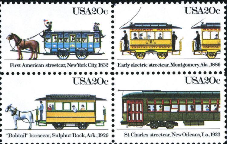 1983 20c Streetcars, Block of 4 Scott 2059-62 Mint F/VF