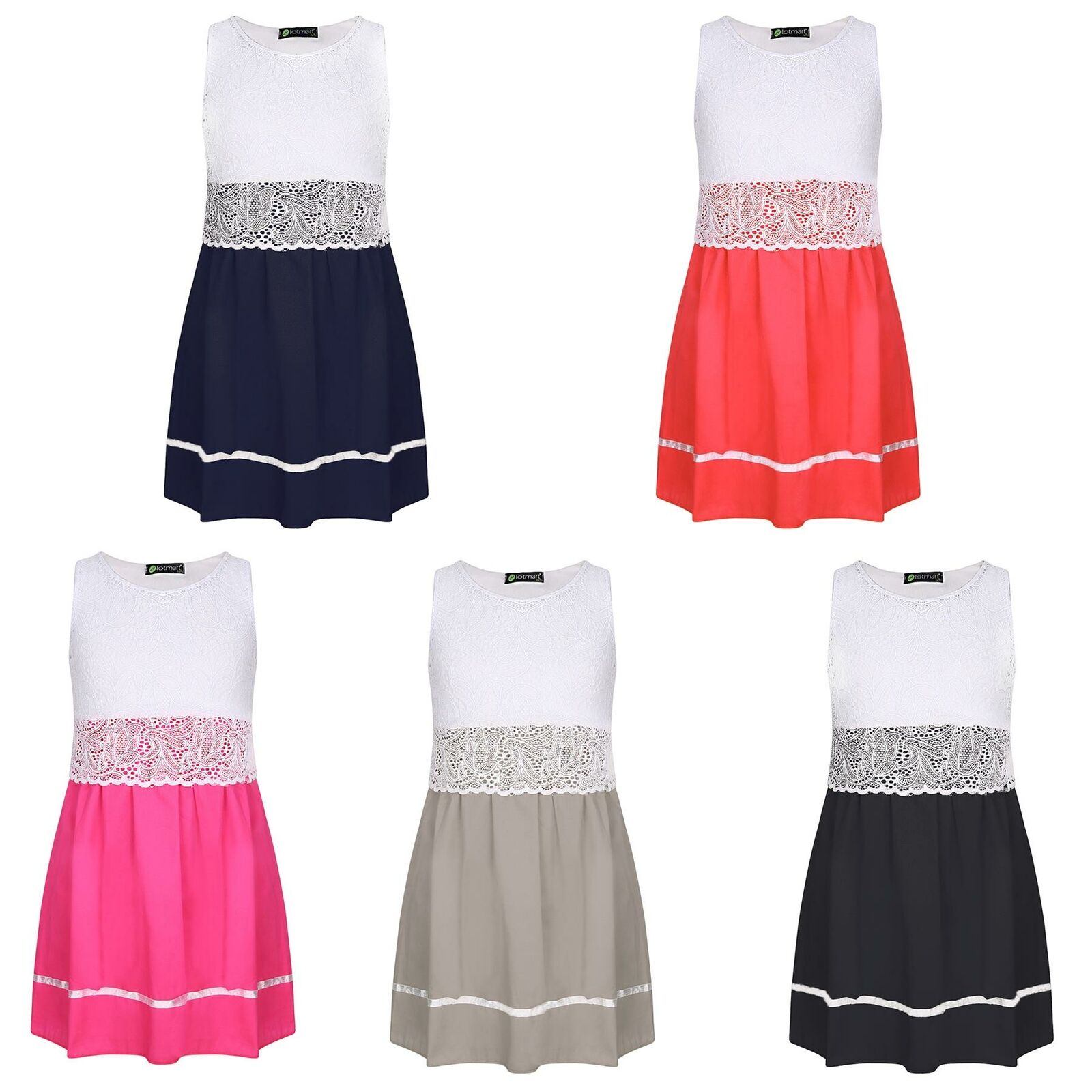 Girls Dress Sleeveless Lace Top Ribbon Skirt Detail Party Casual Size 3-14 Years