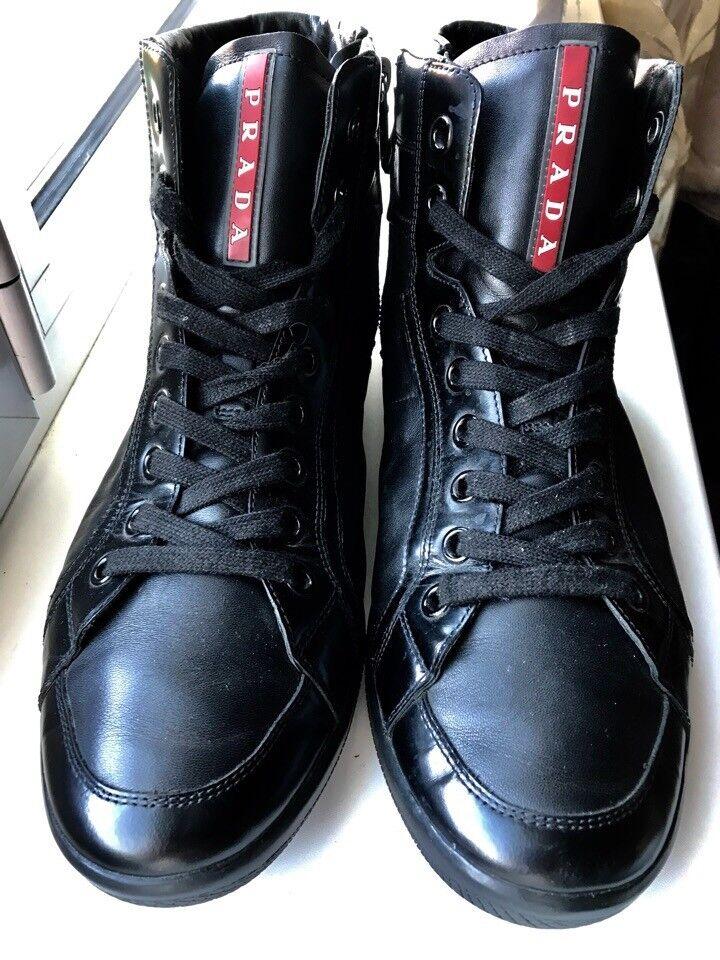 Prada Men's Black Leather Sneakers Size 8