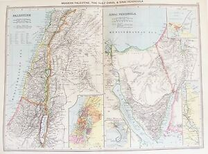 OLD ANTIQUE MAP PALESTINE MIDDLE EAST SINAI SUEZ CANAL c1906 by