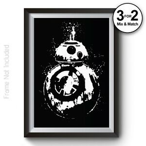 Star Wars Wall Art Prints BB8 Abstract Poster Colourful Man Cave Home Decor