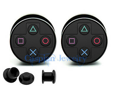 Pair of Game Console ear plug gauges tunnel screw on back 6mm-24mm