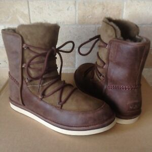 8fb7401950d Details about UGG LODGE CHOCOLATE WATER-RESISTANT SUEDE SHEEPSKIN LACE-UP  BOOTS SIZE 10 WOMENS
