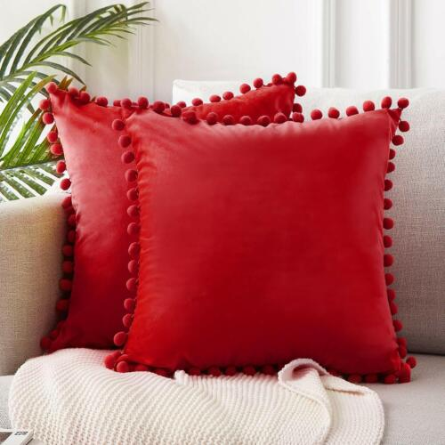 2er Set Velvet Cushion Covers with pompoms Monochrome Decorative 45X45cm