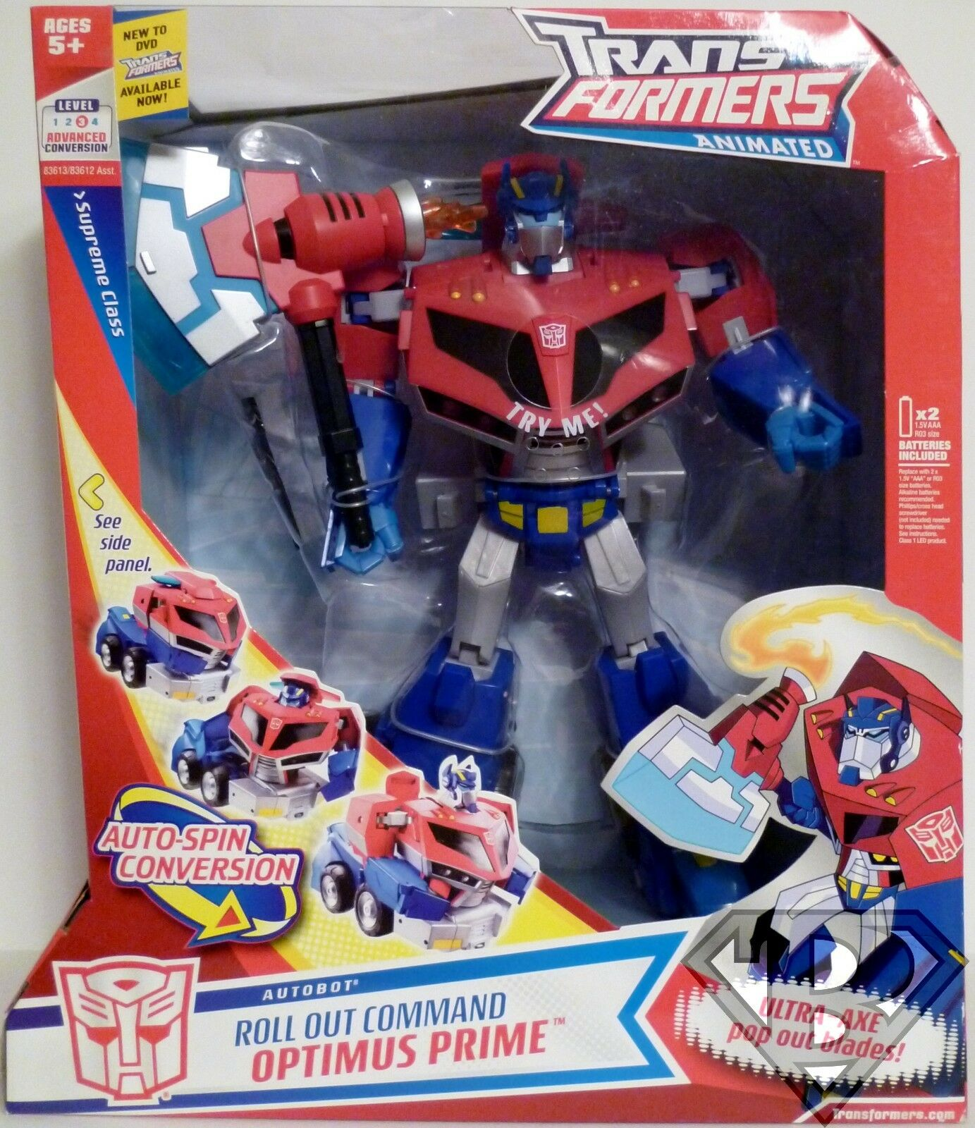 ROLL OUT COMMAND OPTIMUS PRIME Transformers Animated Supreme Class 12  inch 2008