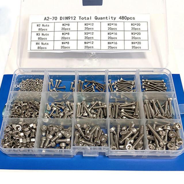 480Pcs Stainless Hex Socket Cap Head Bolts Screws Nuts M2 M3 M4 Kit Best Durable