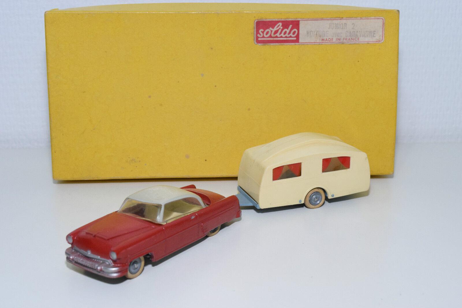 SOLIDO COFFRET GIFT SET JUNIOR 2 CAR WITH CARAVAN VOITURE CARAVANNE N MINT BOXED