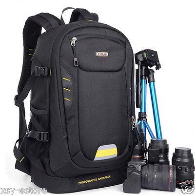 Waterproof DSLR SLR Camera Backpack Black Backpacking Bag Case Oxford Material