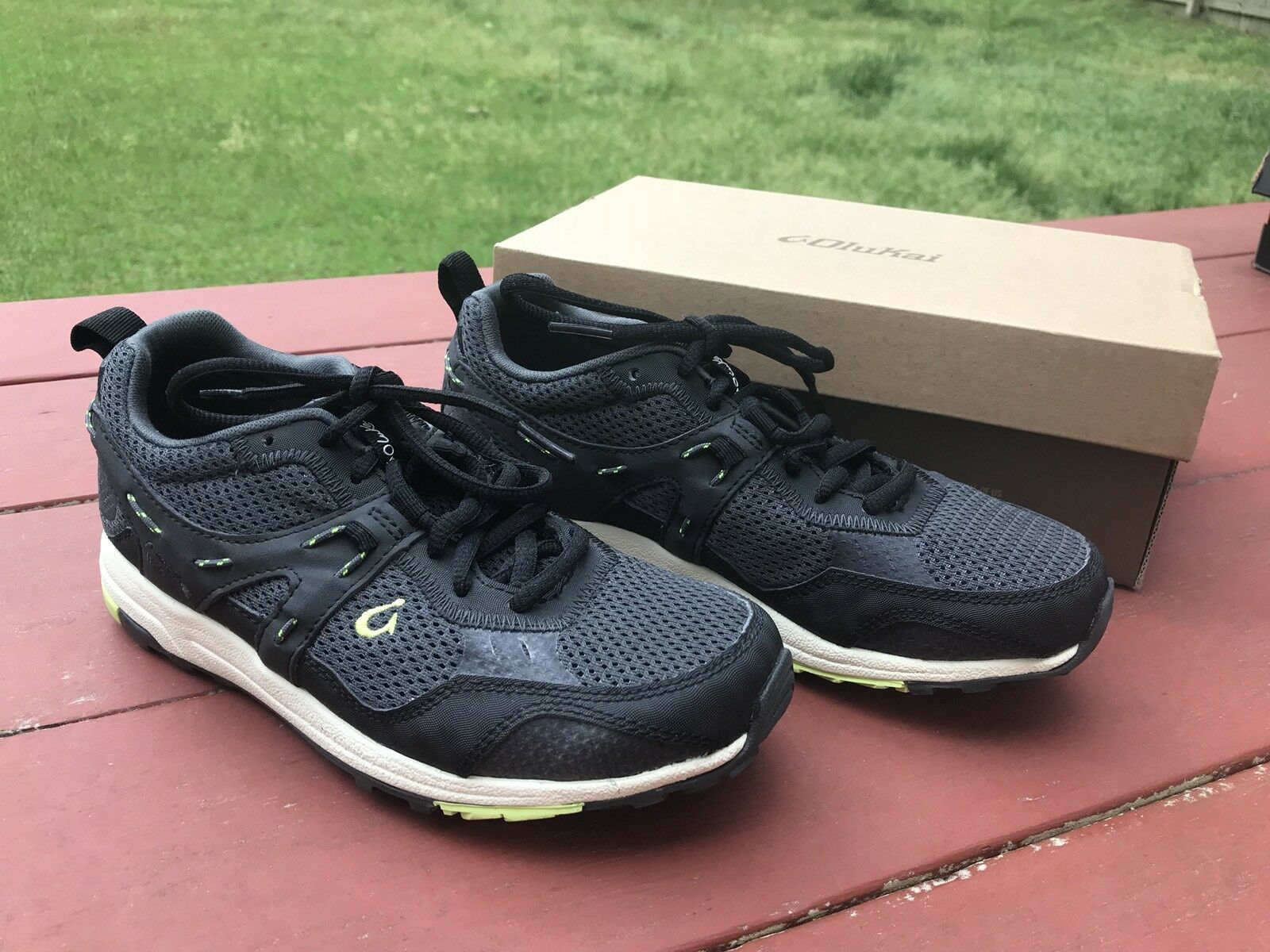 Womens OLUKAI Black And And And Pale Lime Sneaker Trainer 2 shoes NEW SZ 6.5 e8e4fa