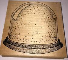 Stampa Barbara Snowglobe Rubber Stamp Winter Dome Christmas Snow Crystal Ball