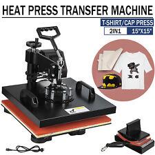 15x15 2in1 Combo Heat Press T Shirt Printing Machine Cap Hat Sublimation Press