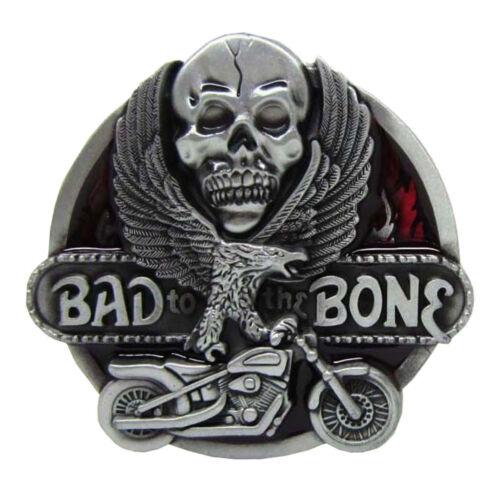 """/""""Bad To The Bone/"""" Skull Flying Eagel Motorcycle Metal Belt Buckle Cowboy"""