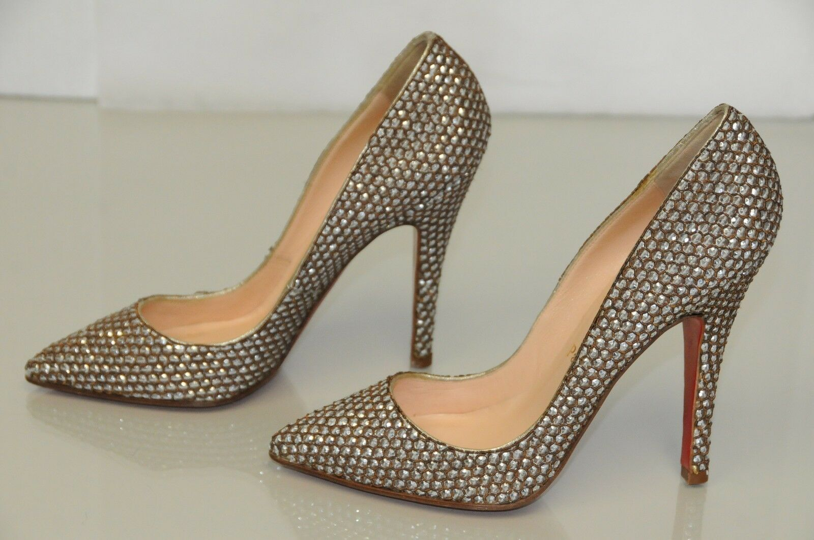 NUOVO Christian Louboutin Sequin JEWEled Pigalle  argento Pump Heels scarpe 37  memorizzare