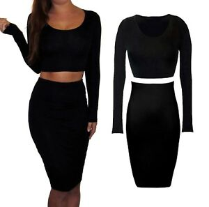 64b599feb1 Peaches&Cream 2 Piece Co Ord Set Pencil Knee Skirt Top Bodycon Black ...