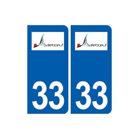 33 Sallebœuf logo ville autocollant plaque stickers -  Angles : arrondis