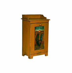 Amish Wood Kitchen Potato Vegetable Trash Bin Cabinet Folk Art Rooster
