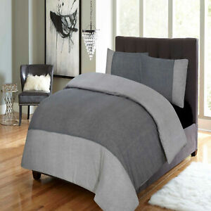 Double-King-Flannel-Duvet-Cover-Thermal-Bedding-Set-100-Brushed-Cotton