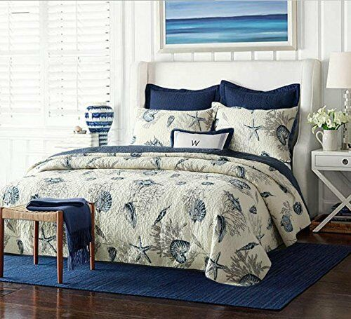 BEAUTIFUL BEACH OCEAN SHORE COASTAL NAUTICAL SEASHELL CORAL Blau Weiß QUILT SET