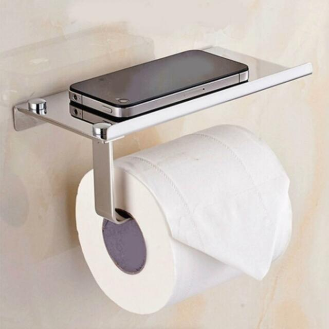Silver Toilet Paper Holder Mobile Phone Storage Shelf Holders Wall Mounted Rack For Sale Online Ebay