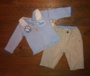 100% autentico intera collezione presa di fabbrica Mayoral Baby Boy Neonato Vestito Blu Polo Top/courdoray Pantaloni ...
