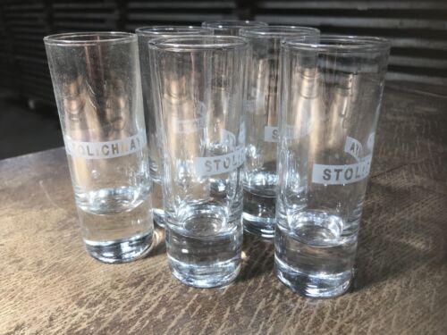 Rare Stolichniya Stoli Russian Vodka Glasses Tall Slim Shot Glass