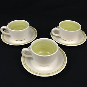 Set-of-3-Vintage-Cups-and-Saucers-by-Franciscan-Earthenware-HACIENDA-GREEN-USA