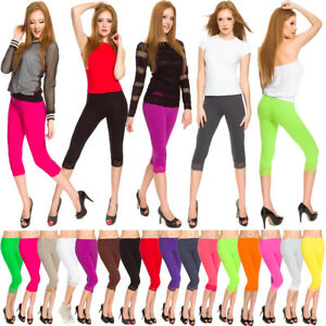 ed4e495539963 Womens Cropped Leggings Lace Cotton Ladies 3/4 Comfy Casual Pants ...