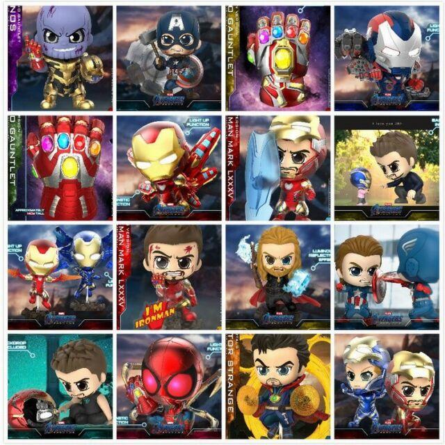 Hot Toys Cosbaby Avengers Endgame Thor and Hammer Mjolnir Bobble-Head Figures