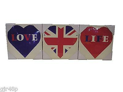 """Love Life Union Jack Heart Canvas wooden Frame Pictures 8"""" x 8 """" inch Set of 3"""
